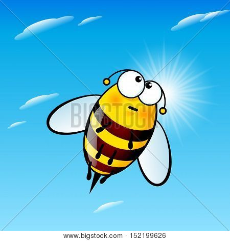 Illustration of Tired a Cute Bee in Sky