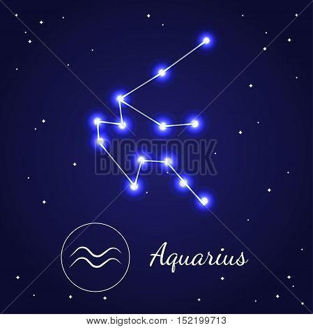 Aquarius Zodiac Sign Stars on the Cosmic Sky. Vector illustration