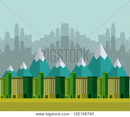 city green ecology cityscape vector illustration design
