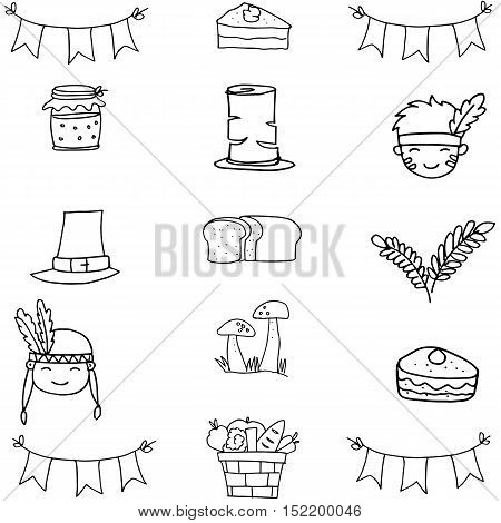 Doodle of thanksgiving hand draw vector illustration icons