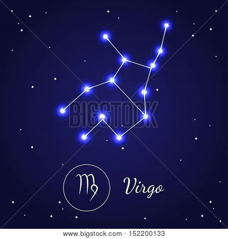 Virgo Zodiac Sign Stars on the Cosmic Sky. Vector illustration