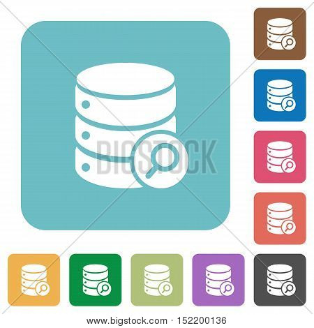 Flat database search icons on rounded square color backgrounds.