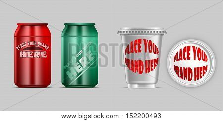 Vector red and green aluminium and silver plastic beverage drink can mockup ready for your design
