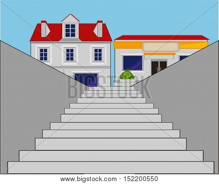 The Stairway in underpasses through street.Vector illustration
