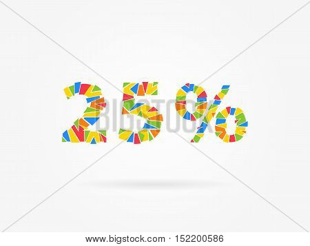 25 percent discount colorful vector illustration on grey background. 25 percent off discount creative promotion concept. Special offer isolated element for banner marketing.