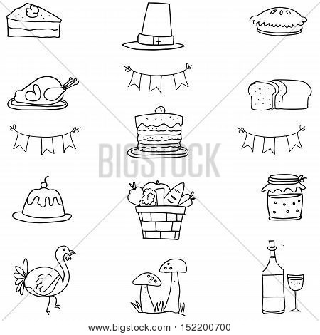 Hand draw thanksgiving vector doodle illustration collection