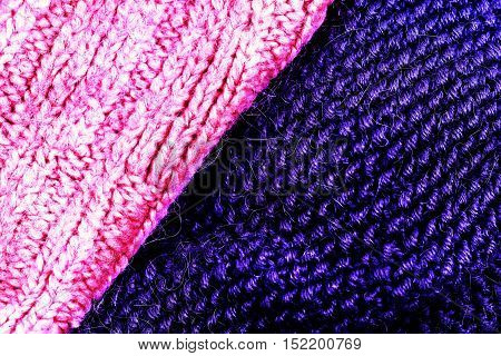 Colorful woolen knitted fabric texture macro close up