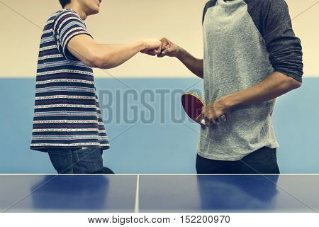 Ping Pong Table Tennis Game Practicing Sport Concept