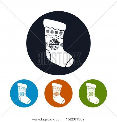 Four Types of Colorful Round Icons Christmas Sock Decorated Snowflakes, Christmas Decorations, Vector Illustration