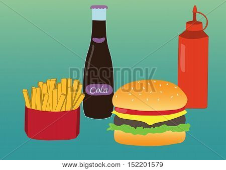 Simple illustration of french fries, burger and soda. Flat design. Vector poster of fast food