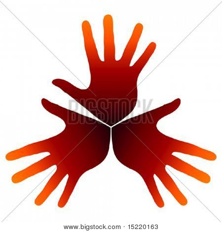 Warm hand trio vector.