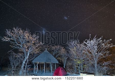 Camping under the starry sky and the majestic Magellanic Clouds outstandingly bright captured in Southern Africa. Tent and Acacia trunk in the foreground. Adventure into the wild.
