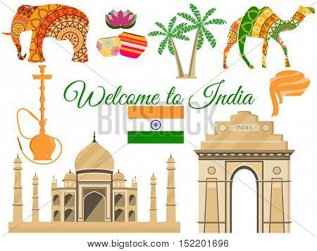 Welcome to India India's traditional symbols icons attractions. Vector illustration.