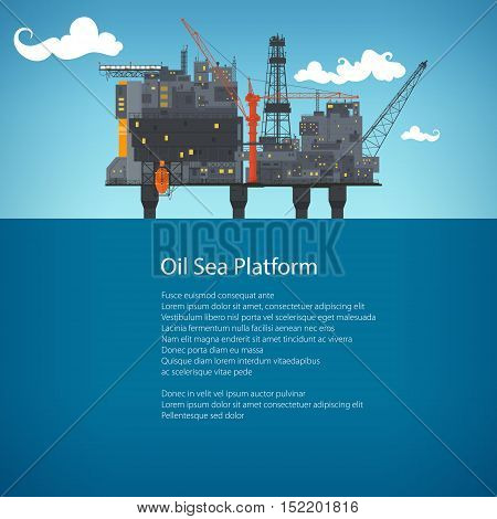Offshore Sea Oil Platform at Sea and Text, Oil Industry , Poster Brochure Flyer Design, Vector Illustration