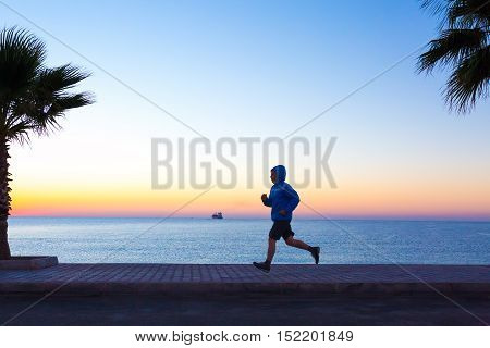 Sportive Man jogging on Seafront making Morning Fitness Tropical Palm Tree Sunrise blue Sea