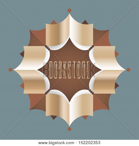 Bookstore bookshop library vector sign icon symbol emblem logo. Template design element with ornament with books for book store book shop e-books internet reading