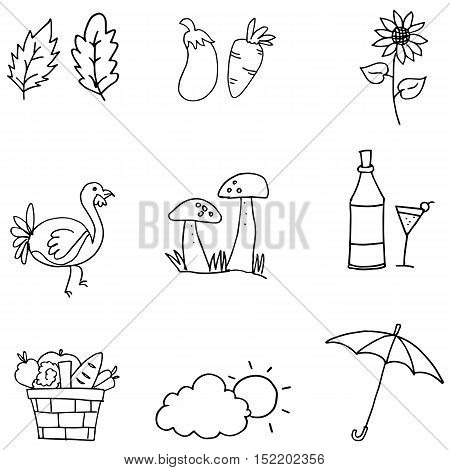 Doodle of thanksgiving set collection vector art