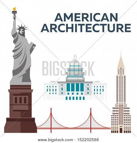 American Architecture. Modern Flat Design. Vector Illustration.