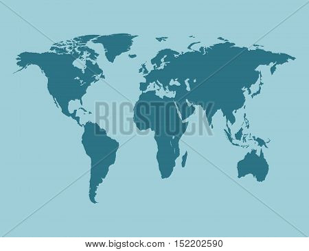 Blue Political World Map vector Illustration. blue
