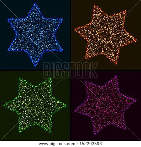 Set of Christmas Glowing Colorful Hexagonal Stars. Design Elements of Celebratory Decor.