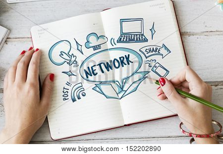 Network Connection Ideas Outside Box Sketch Concept