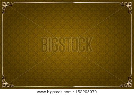 Brown Chinese Background And Gold Decoration