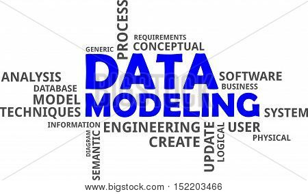 A word cloud of data modeling related items, vector
