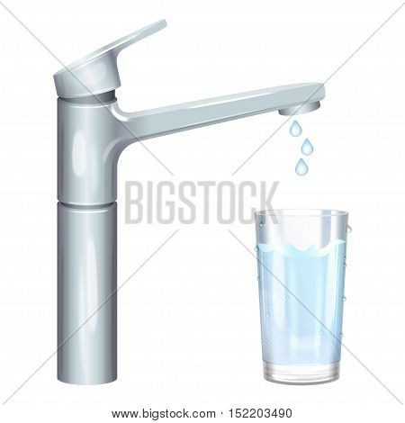 Glass filled with drinking water from tap. Pure water. Vector illustration