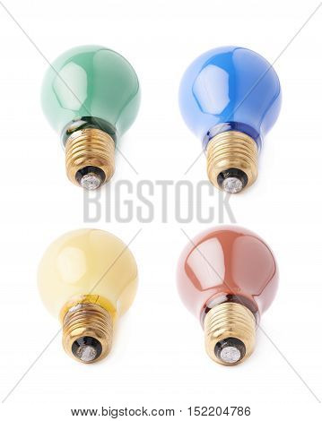 Set of electric different bulbs lying on side, isolated over the white background