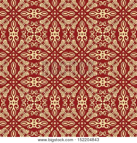 Seamless classic vector red and golden pattern. Traditional orient ornament