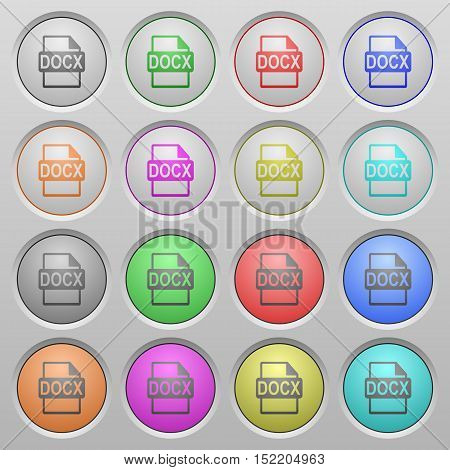 Set of DOCX file format plastic sunk spherical buttons.