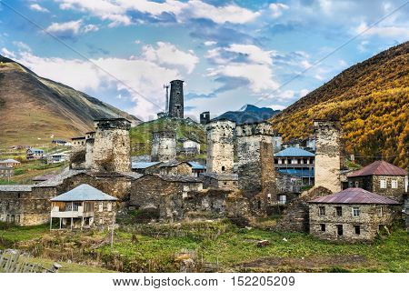 Ushguli village museum in Svaneti.  Upper Svaneti - UNESCO World Heritage Site. Georgia, Europe..