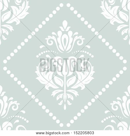 Damask vector classic light blue and white pattern. Seamless abstract background with repeating elements