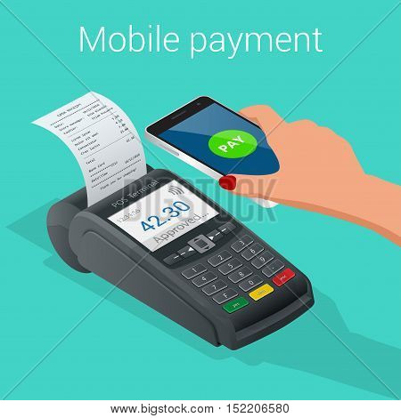 Isometric Pos terminal confirms the payment by smartphone. Vector illustration in flat design on blue background. NFC payments concept