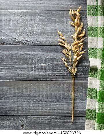 ears of oat on wooden background
