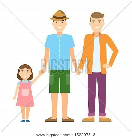 Isolated gay family. Two handsome cartoon men with daughter standing on white background and holding hands. Happy homosexual relationship.