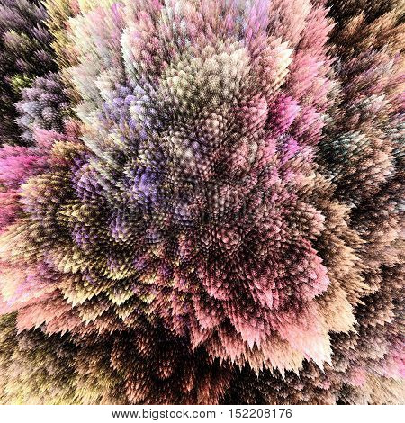 Bush grown crystals. Corals close up view. 3D surreal illustration. Sacred geometry. Mysterious psychedelic relaxation pattern. Fractal abstract texture. Digital artwork graphic astrology magic