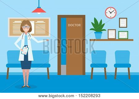 Doctor in waiting room. Handsome smiling woman in white standing in waiting room. Hospital interior with chairs and health care information.