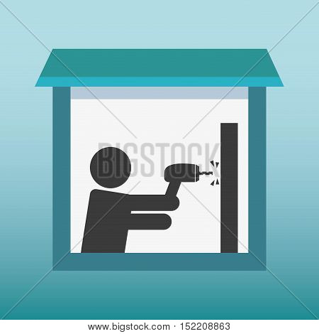 silhouette human drilling wall vector illustration design