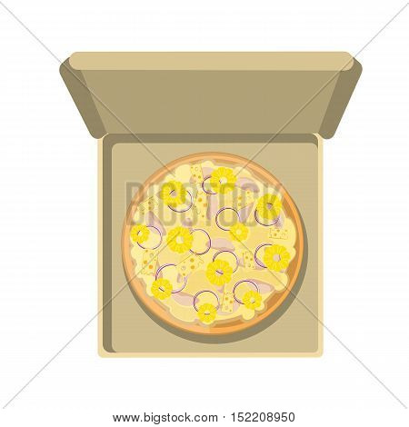 Hawaiian pizza in the box. Isolated fresh and tasty italian snack on white background. Pizza with pineapple, ham and cheese.