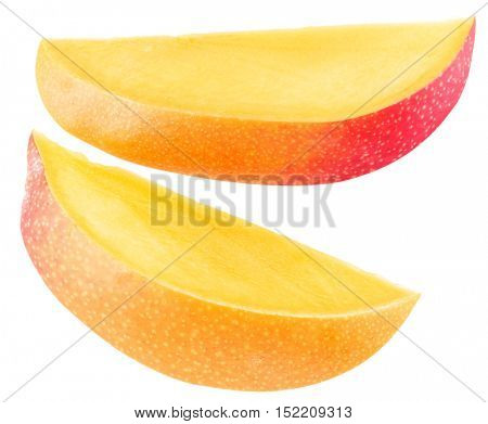 Slices of mango fruit over white. File contains clipping paths.