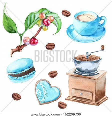 Set of coffee. Cakes Cup of coffee a branch of coffee tree coffee beans coffee grinder. Isolated on a white background. Watercolor illustration.