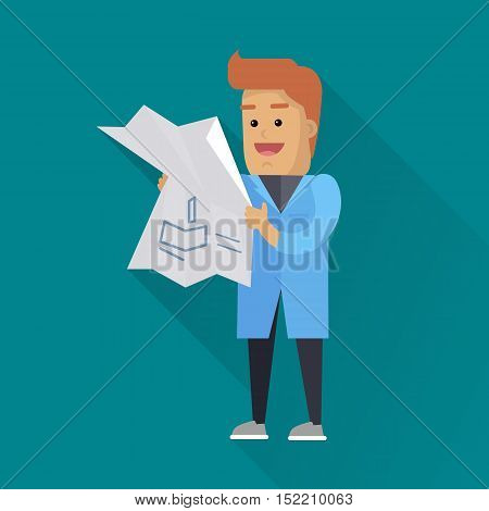 Scientist at work illustration. Vector in flat style design. Scientific icon. Smiling male character in blue gown standing with drawing in hand. Educational experiment. On blue background with shadow