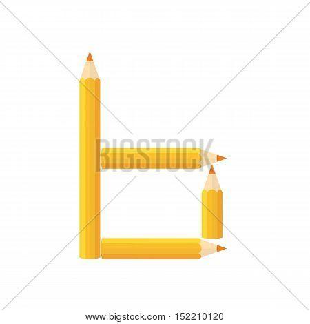 Color Wooden Pencils Concept By Rearrange The Letters B