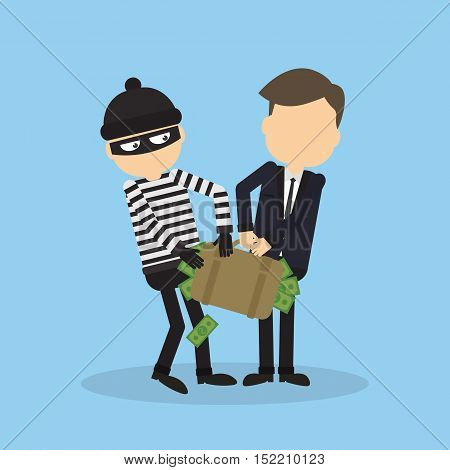 Thief stealing money from businessman. Robber in black mask holding the bag of money.
