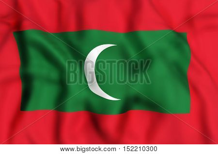 Republic Of Maldives Flag Waving