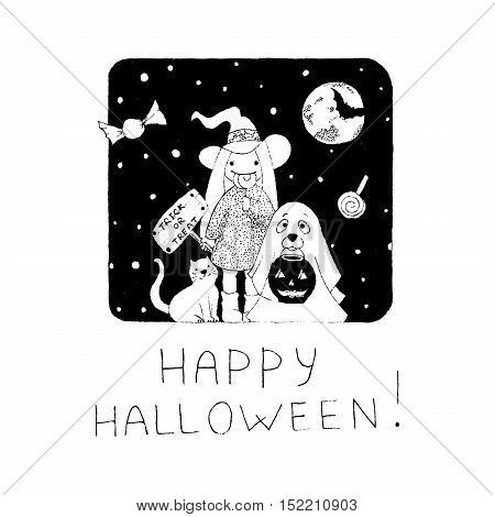 Halloween Holiday Vector Giftcard on white background