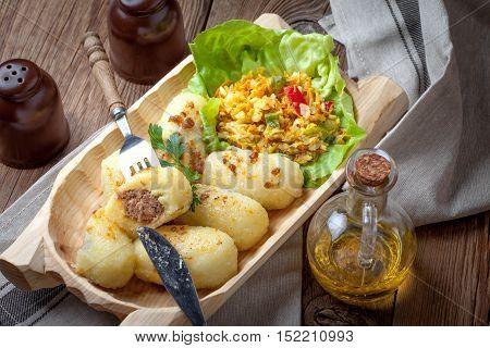 Dumplings With Meat In A Wooden Bowl.