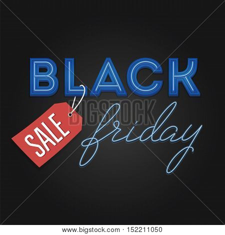 Black Friday Sale retro light frame. Neon design. Total Sale Discount Banner retro vintage style. Vector illustration