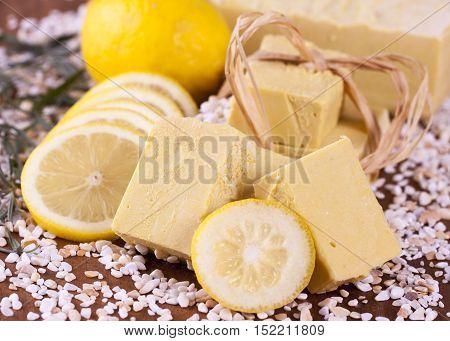Home made yellow soap with lemon - handmade